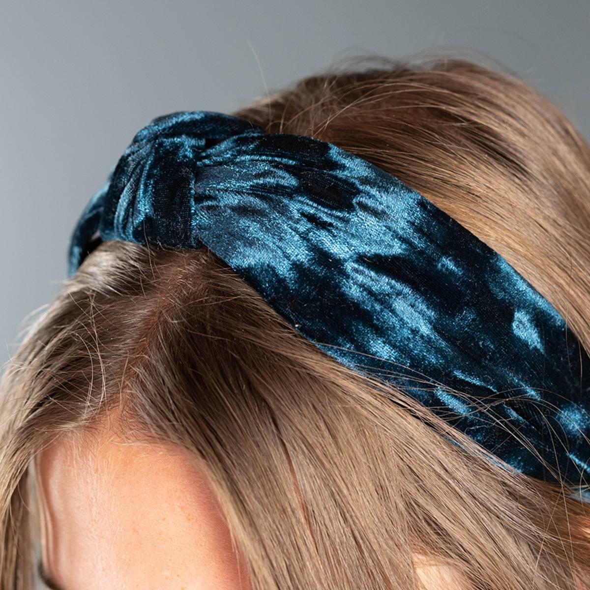 Headband in Crushed Velvet Dark Teal by Pom925   Restoration Yard