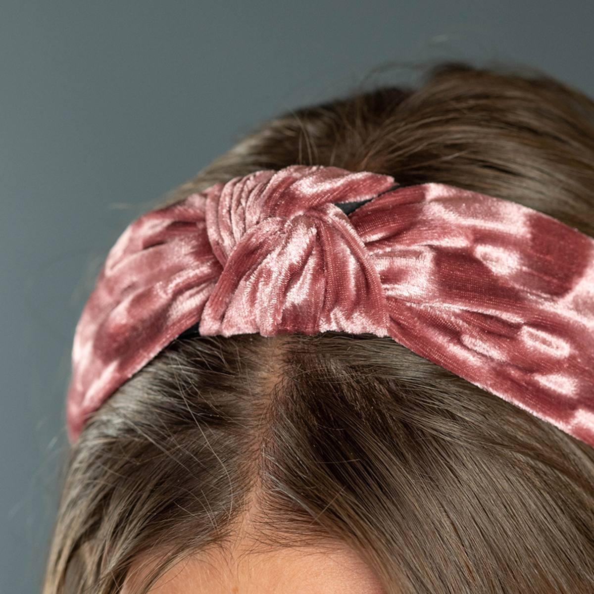 Headband in Crushed Velvet Dusky Rose by Pom925   Restoration Yard