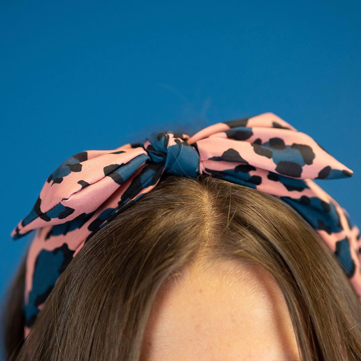 Headband in Leopard Print Pink Blue by Pom925 | Restoration Yard