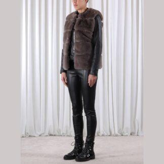 Faux Fur Waistcoat Deep Grey by Rino Pelle | Restoration Yard