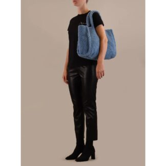 Blue Teddy Fleece Tote Bag by Rino Pelle | Restoration Yard