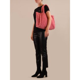 Pink Teddy Fleece Tote Bag by Rino Pelle | Restoration Yard
