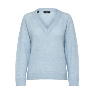Knit V-Neck Cashmere Blue Jumper Selected Femme | Restoration Yard