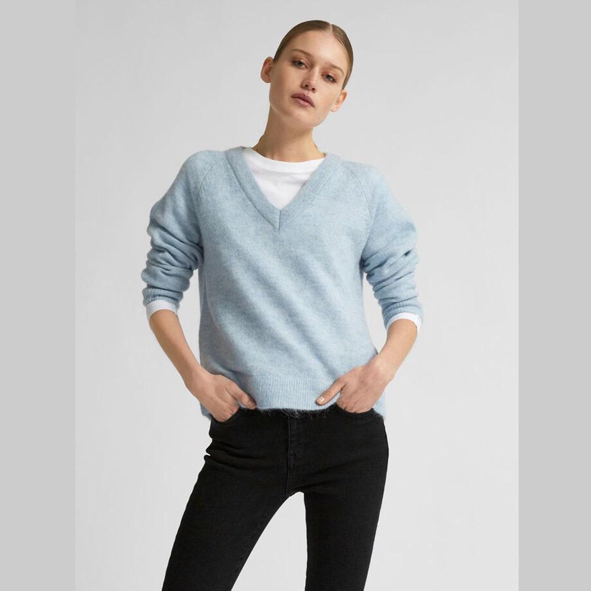 Knit V-Neck Cashmere Blue Jumper Selected Femme   Restoration Yard