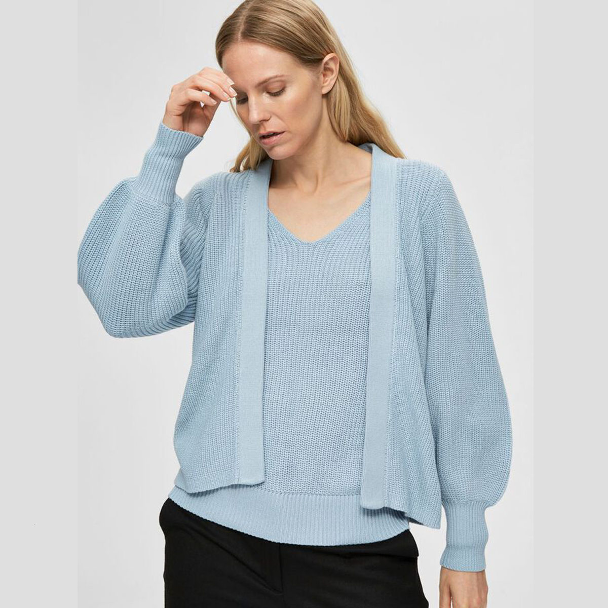 Open Front Cashmere Blue Cardigan Selected Femme | Restoration Yard