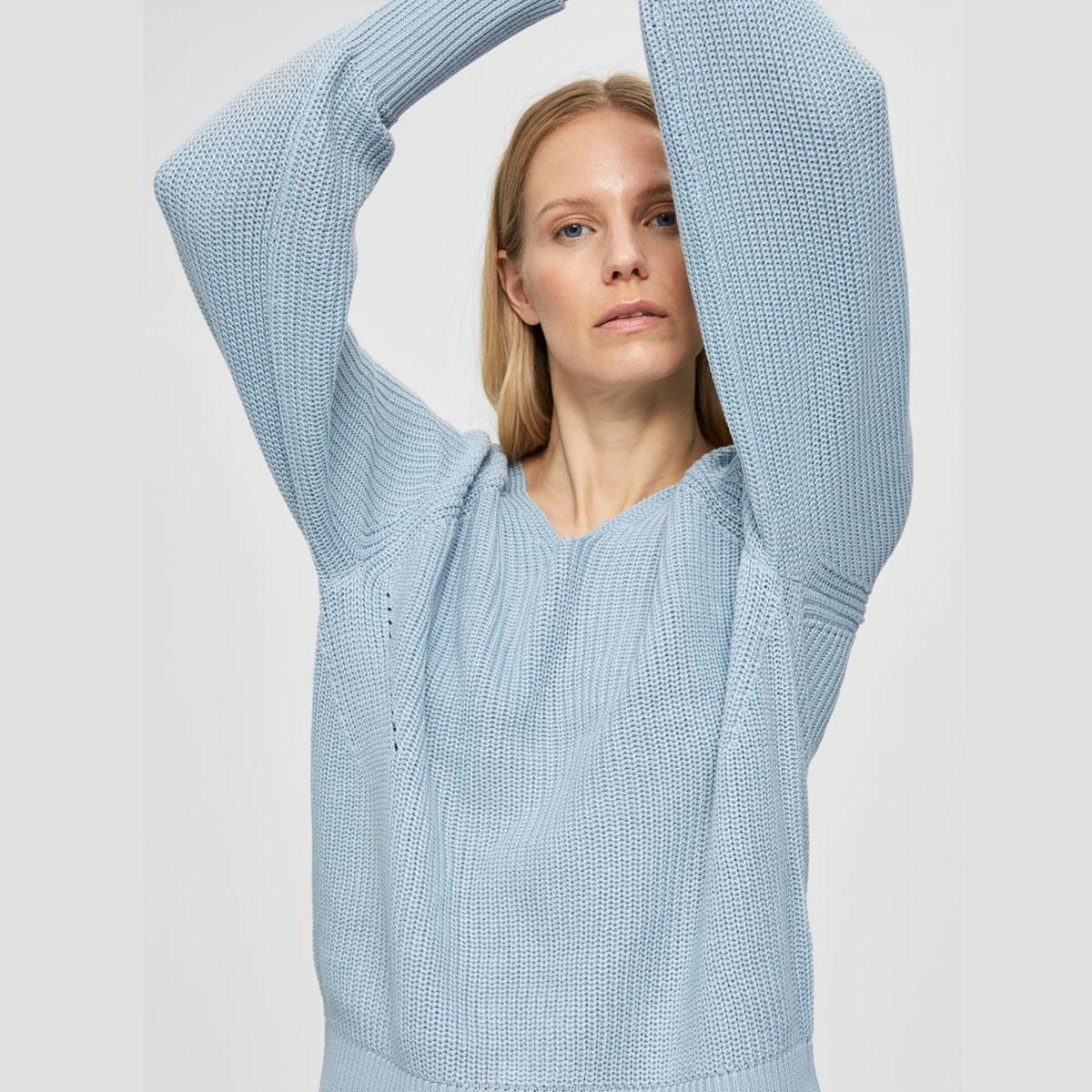 V-Neck Cashmere Blue Jumper by Selected Femme   Restoration Yard
