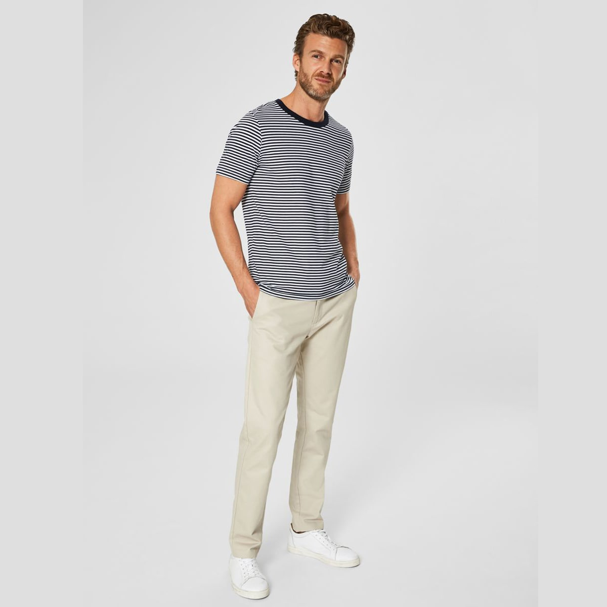Stripe T-Shirt White Dark Sapphire by Selected Homme | Restoration Yard