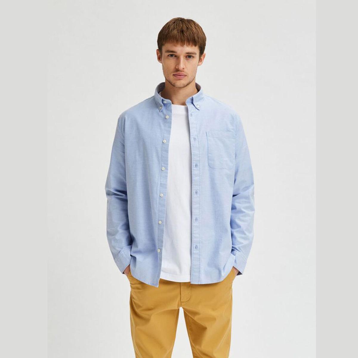 Flex Light Blue Shirt by Selected Homme | Restoration Yard