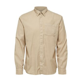 Soft Tencel Lyocell Beige Shirt by Selected Homme | Restoration Yard