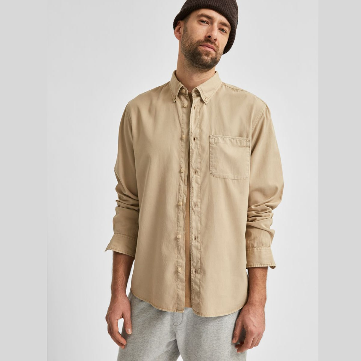 Soft Tencel Lyocell Beige Shirt by Selected Homme   Restoration Yard