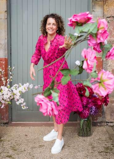 Pom Amsterdam Strawberry Dress in pink for Spring 21
