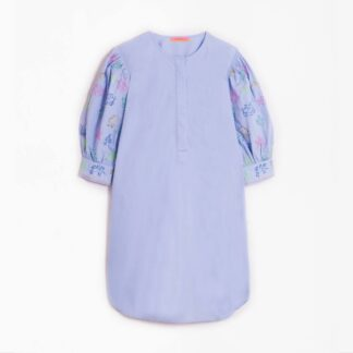 The Bettina Blue Embroidered Sleeve Tunic by Vilagallo   Restoration Yard