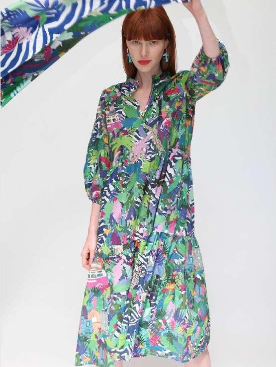 Vilagallo Tammy Pacure Print Dress