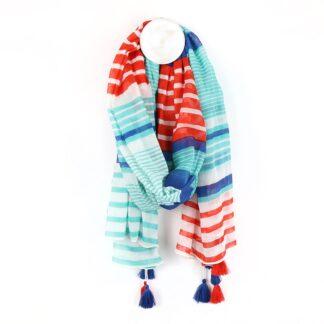 Aqua Blue and Red Striped Cotton Scarf By Pom | Restoration Yard