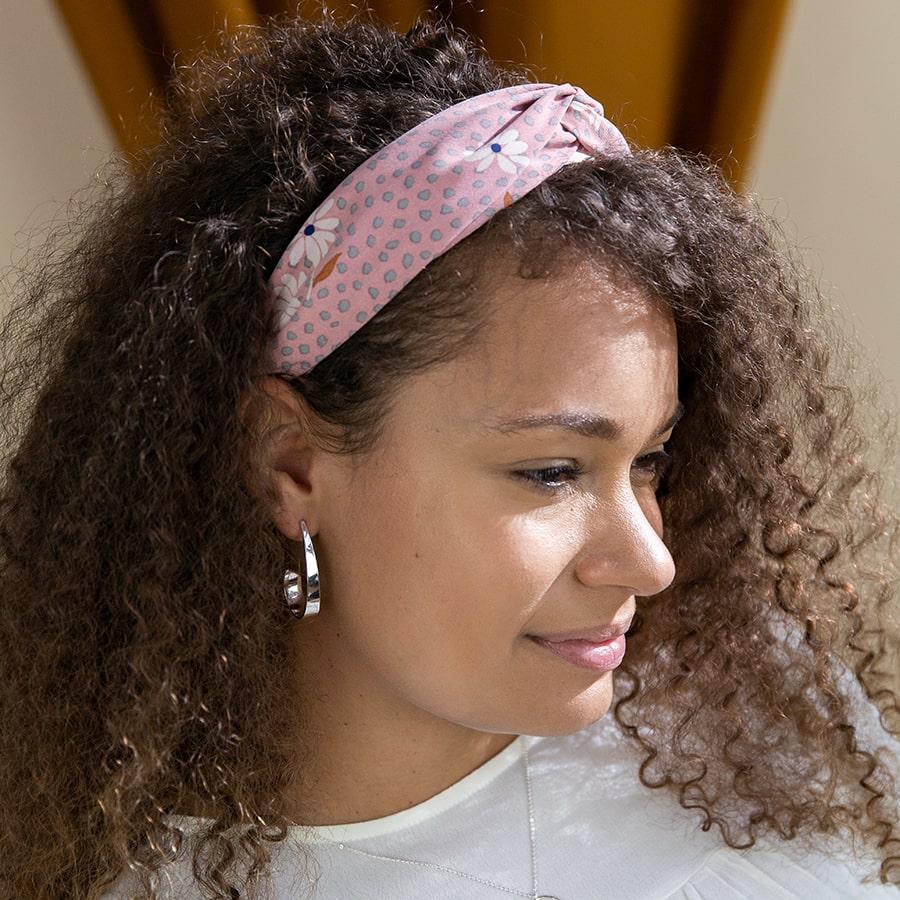 Pink & Grey Floral Print Headband by POM | Restoration Yard