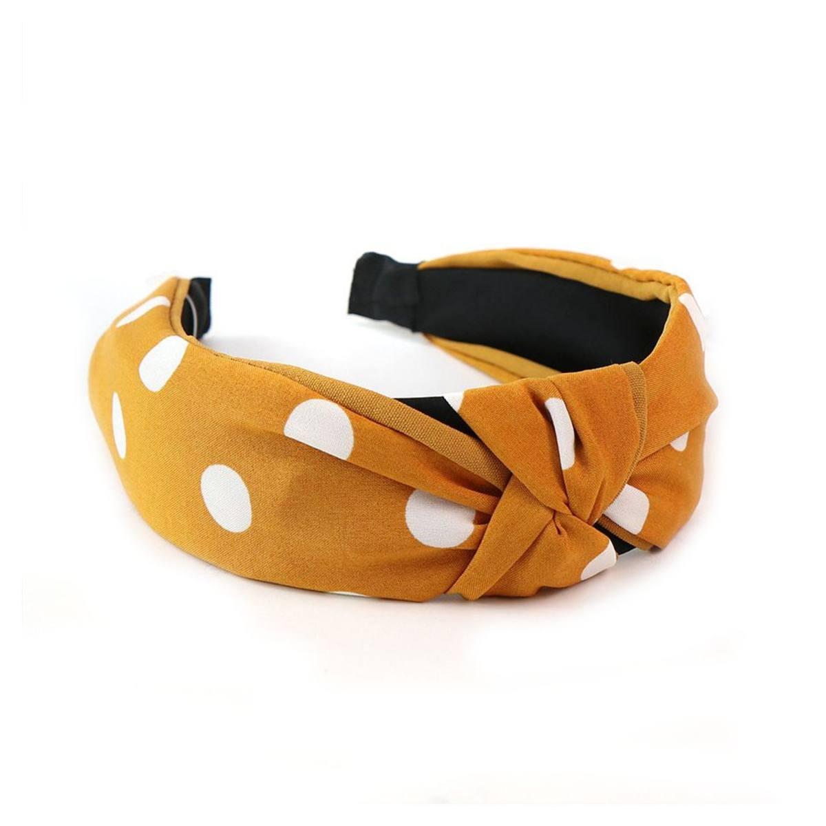 Mustard & White Dotty Headband by POM | Restoration Yard