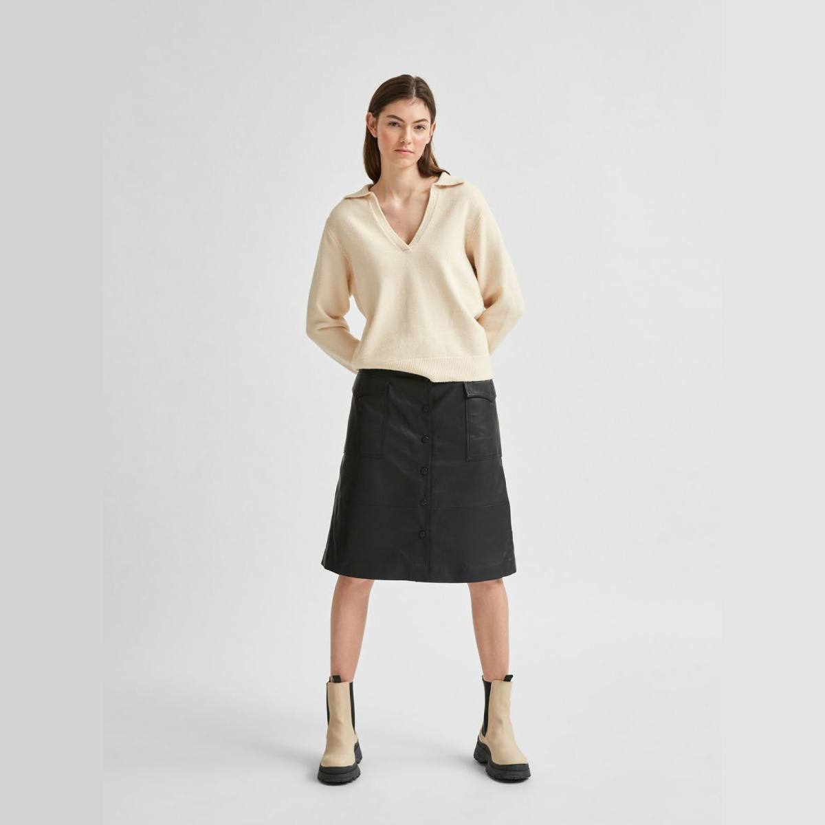 Aeya Sandshell Knit Polo Neck by Selected Femme | Restoration Yard