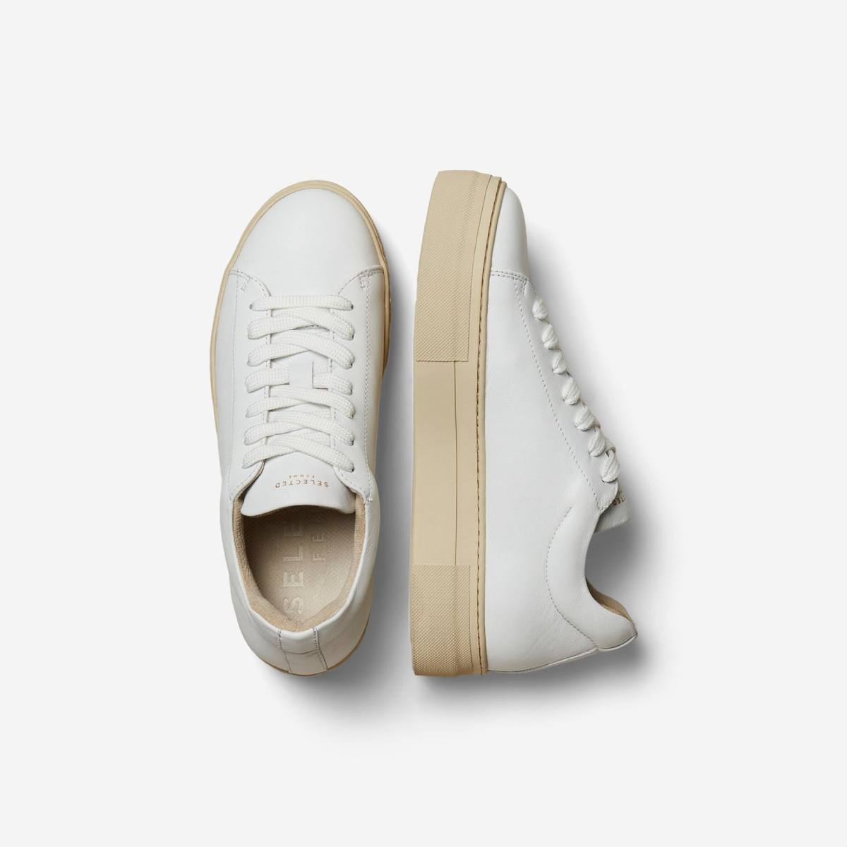 Hailey Leather White Trainer by Selected Femme | Restoration Yard