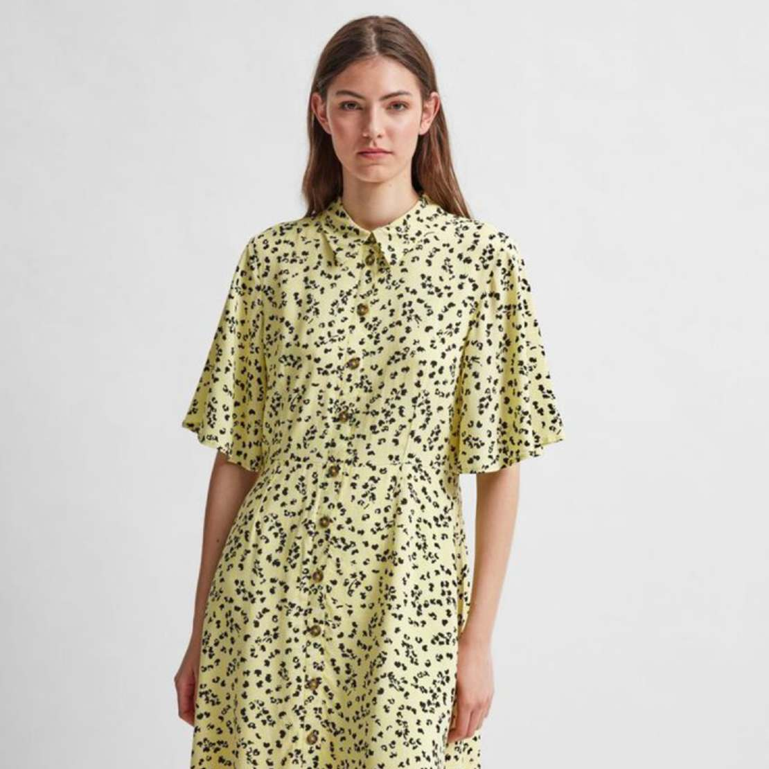 Selected Femme Yellow Printed Dress