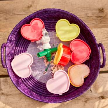 Rice heart shaped food storage pots