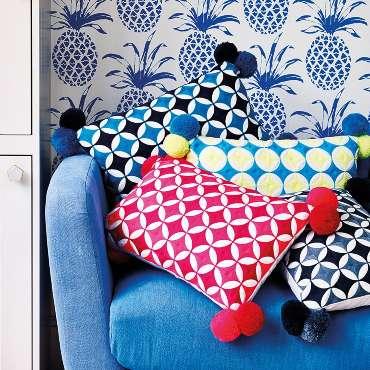 Bombay Duck Cushions on a velvet chair