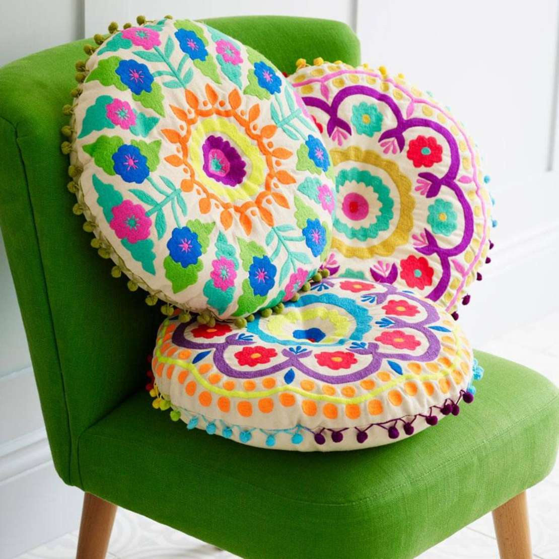 Bombay Duck Tibet embroidered cushions new in homeware